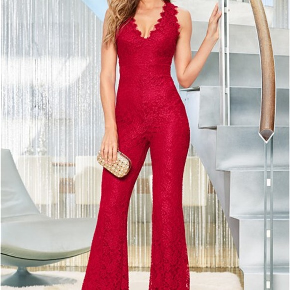 4c5d11dcc8a9 Red lace jumpsuit 🔥🔥. M 5a5681228290af057c01b86c. Other Listings you may  like. Venus long lace jumpsuit